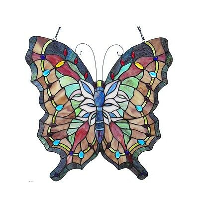 """Vintage Butterfly Design Stained Glass Window Panel 22"""" Tall x 22"""" Wide"""