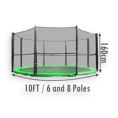 Replacement Trampoline Safety Net Enclosure Surround 10FT 6 and 8 Poles