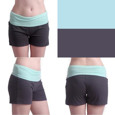 Womens Maternity Yoga Shorts Stretch Pregnancy Shorts Fold Over Waistband (M)
