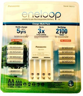 Battery Charger, Eneloop Rechargeable Batteries NiMH 8-AA 4-AAA +,Recharge SET,