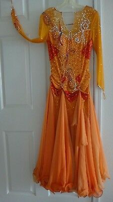 Competition Standard Smooth Ballroom Dress Orange M L