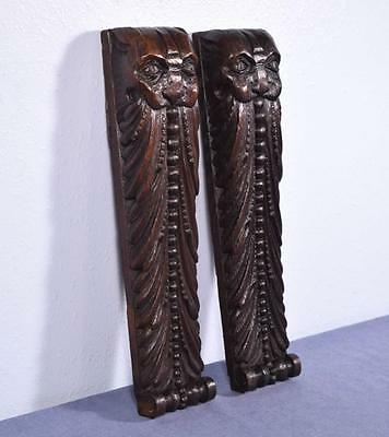 *Pair of French Antique Oak Wood Brackets/Figurines/Sculptures of Bearded Men