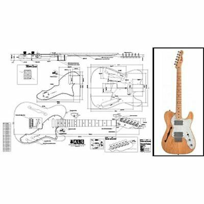 Solid Body Plan Of Fender Telecaster Thinline Electric Guitar Full Scale Print