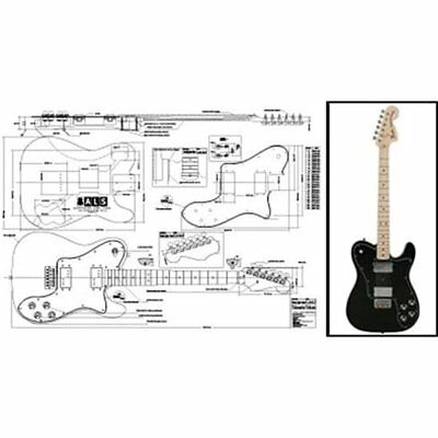 Solid Body Plan Of Fender Telecaster Deluxe Electric Guitar Full Scale Print