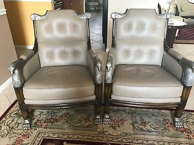 Pair of Maitland Smith Custom Bronze and Leather Eagle/Claw Foot Chairs