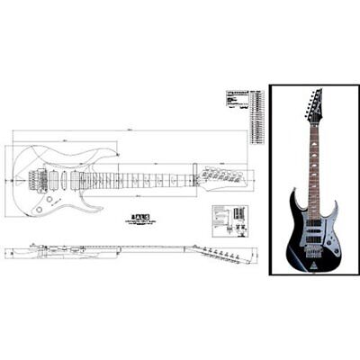 Solid Body Plan Of Ibanez Universe 7-string Electric Guitar Full Scale Print