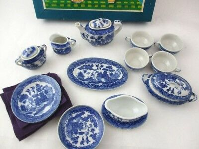 Childs China Blue Willow Vintage Dining and Tea Set Original Box with Flatware,
