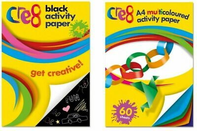 A4 60 Sheet Activity Paper Black Multi Colour Sheets Arts Crafts Stationary Kids