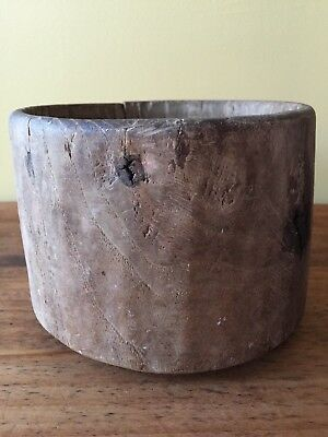 Early TREEN bowl hand carved antique wooden primitive authentic wood one piece