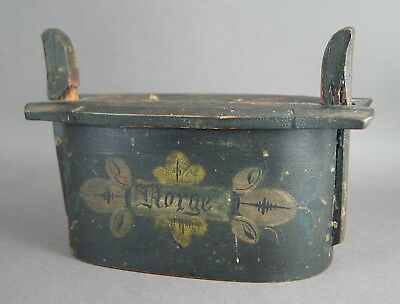 Good Antique 19Th C Norwegian Bentwood Painted Wooden Treen Tine Tina Box Norge
