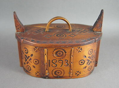 V Good Antique 19Th C Norwegian Bentwood Wooden Treen Tine Tina Box Dated 1893