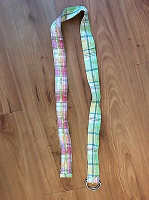 Women's Unionbay Green & Pink Sequin Plaid Reversible Fabric Belt w Ring Buckle