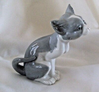 Lladro Porcelain Cat Kitten  gray white figure Feed Me Gatito Expectante 1981
