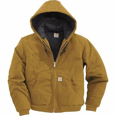 New - J140 Carhartt Duck Active Zip Hooded Quilt Lined Jacket -Brown- 2X-Large