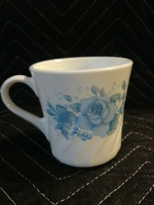 Vintage Corning Ware Blue Floral White Coffee Cup Mug