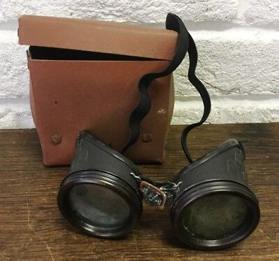 English Vtg Safety Goggles/Glasses in Original Vulcanised Case - Steampunk Prop
