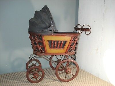 Antique Victorian Baby Doll Carriage Buggy Canvas Canopy 1920's