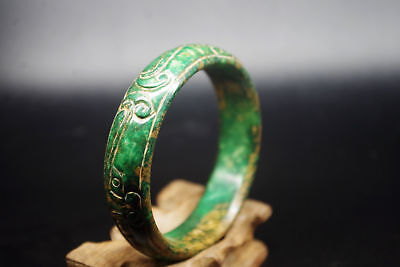 Vintage Chinese antique old natural green jade hand carved jade bangle A425