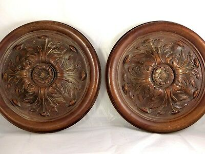 """Pair French Antique Architectural Hand Carved Wood Medallion 12"""" Walnut Rosace"""