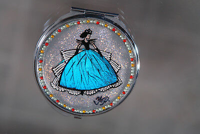 Hand made makeup mirror with Lady in Crinoline made from Blue Morpho Butterfiy