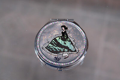 Hand made makeup mirror with Lady in Crinoline made from Butterfiy Wings