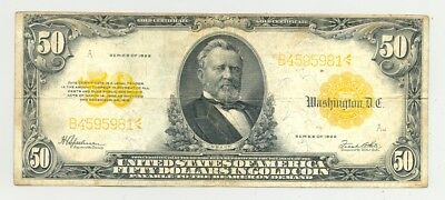 Higher grade $50 large size Series 1922 Gold Certificate nice colors, no reserve
