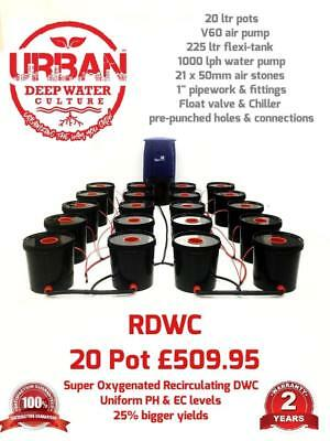 20 Pot 20L System 4 Lane & Flexi For Grow Size 3.5 x 2m DWC RDWC Autopot IWS
