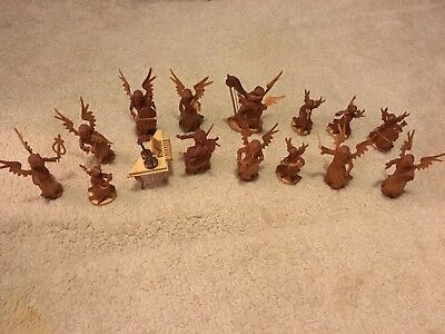 15 piece Oberammergau Wood Angel Orchestra Hand Carved Vintage