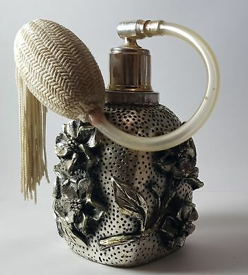 Nice old scent bottle perfume antique metal silver hand craft
