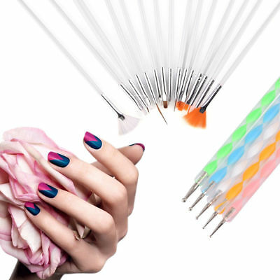 Nail Brushes Dotting Painting Drawing Nail Art Tools Polish Brush Pen 20 Pcs/Set