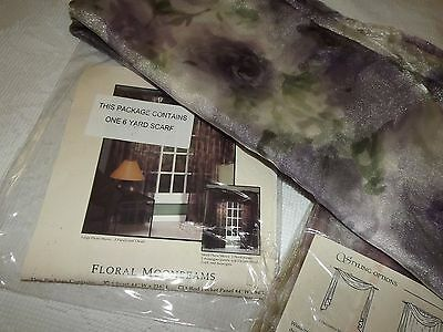 """PAIR of VINTAGE 6 YD FLORAL SCARF DRAPES CURTAINS 44"""" x 216"""" PURPLE GREEN EC NEW"""