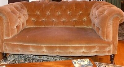 Victorian Antique wood Framed Chesterfield Sofa On Castors