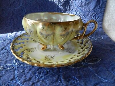 Vintage Royal Sealy China Lusterware Footed Teacup & Saucer with Gold Japanese