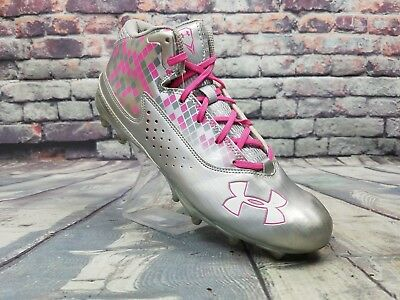 Under Armour Men's Ripshot Mid MC Lacrosse Cleats Silver/Pink shoes Size 9