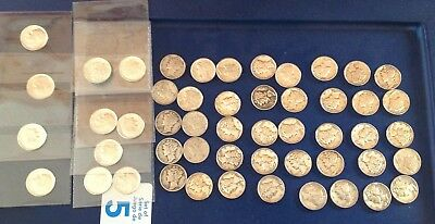 Us silver dimes lot of 51 coins nice conditions some bu unc