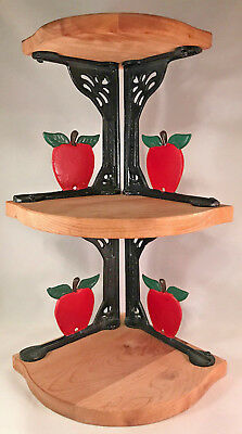 Vintage Wrought Iron & Wood 3 Tier Corner Wall Hung Or Table Top Shelf Apples