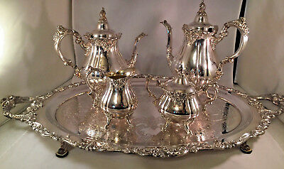 Vintage Wallace Baroque Silverplated 5 Pc. Coffee Tea Set Excellent Condition