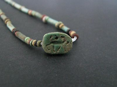 NILE  Ancient Egyptian Scarab Amulet Mummy Bead Necklace ca1000 BC