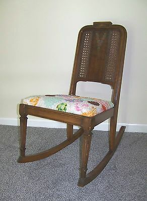 Vtg. Victorian Inlaid Wood Accent  Rocking Chair w/ Padded Crochet Covered Seat