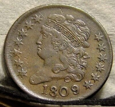 1809/6 9 over inverted 9 Classic Head Half Cent XF