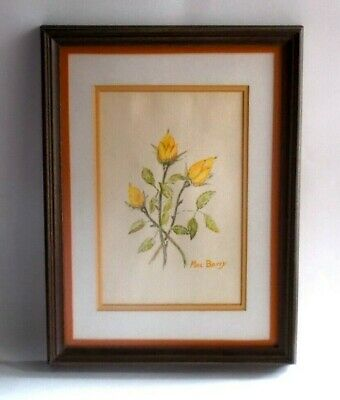 Vintage 1980's 3 Yellow Roses Watercolor-Framed-Matted-Signed Mac Barry
