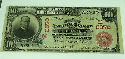 1902 First National Chicago $10 Ten Dollar National Bank Currency Large Note 613