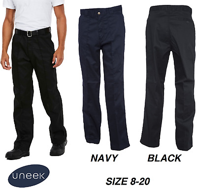 Mens Classic Work Trousers Size 28 to 56 Waist in Black or Navy - UNEEK 901