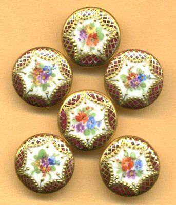 One Antique Button…Gold Encrusted Hand Painted Porcelain...Maroon with Flowers