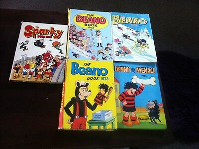 job lot of3 Beano annuals and 1 Dennis the menace and 1 sparky 1970's