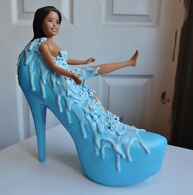 Doll in Shoe Bath - Custom Made with sculpted bubbles and water - Handmade 2017