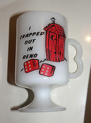 Vtg.RENO Nevada  VINTAGE COFFEE MUG  I Crapped Out  in Reno 1960s Milk Glass