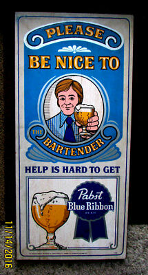 Vintage 60's-70's Genuine Pabst Blue Ribbon Bar Sign ~ Wooden -Painted - Cool !
