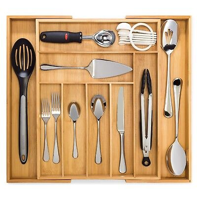 Premium Cutlery and Utensil Tray Expandable Adjustable Bamboo Drawer Organizer