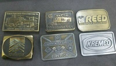 Lot of 6 Various Construction Equipment Brass & Alloy  Belt Buckles From 1980's